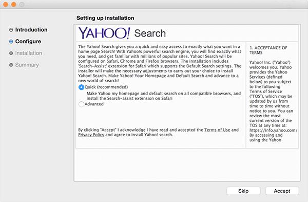 Yahoo search adware